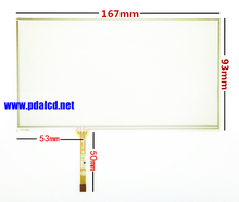 7 inch 167*93mm 4 wire Resistive touch for car GPS navigation touch screen digitizer panel glass free shipping