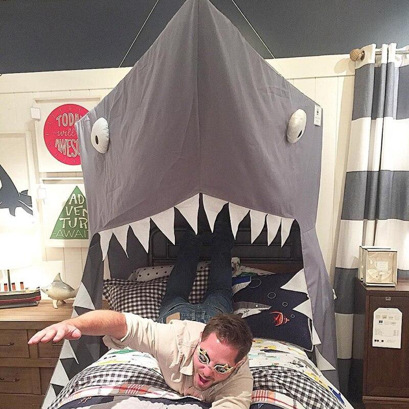 Noir requin auvent nouveau-né bébé nouveau créatif grandir tente enfants lit Net enfants chambre décoration lit rideau berceau filet