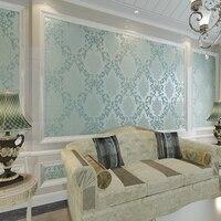European Luxury Bronzing 3D Damascus Wallpaper Papel De Parede Non Woven Wallpaper Bedroom Living Room Sofa