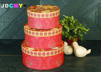 3pcs Set Size L M S Flower Round Box Cardboard Boxes Gift Packing Gift Box