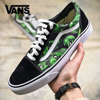 Classic Vans Green Skull Pattern Canvas Shoes Men And Women Breathable Outdoor Footwear Hot Sale