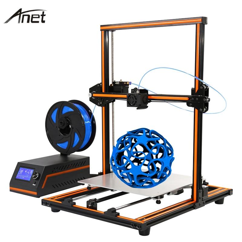 Новый Анет E10 E12 легко собрать impresora 3D принтер DIY Kit Полный алюминиевый imprimante 3D большой размер RepRap i3 с 10 м нити