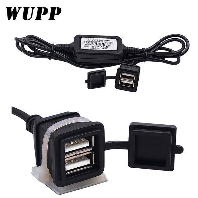 WUPP impermeable vehículo Dual USB cargador de coche DC12V a 5 V 3A 15 W convertidor Módulo adaptador de corriente suministro de estilo de coche