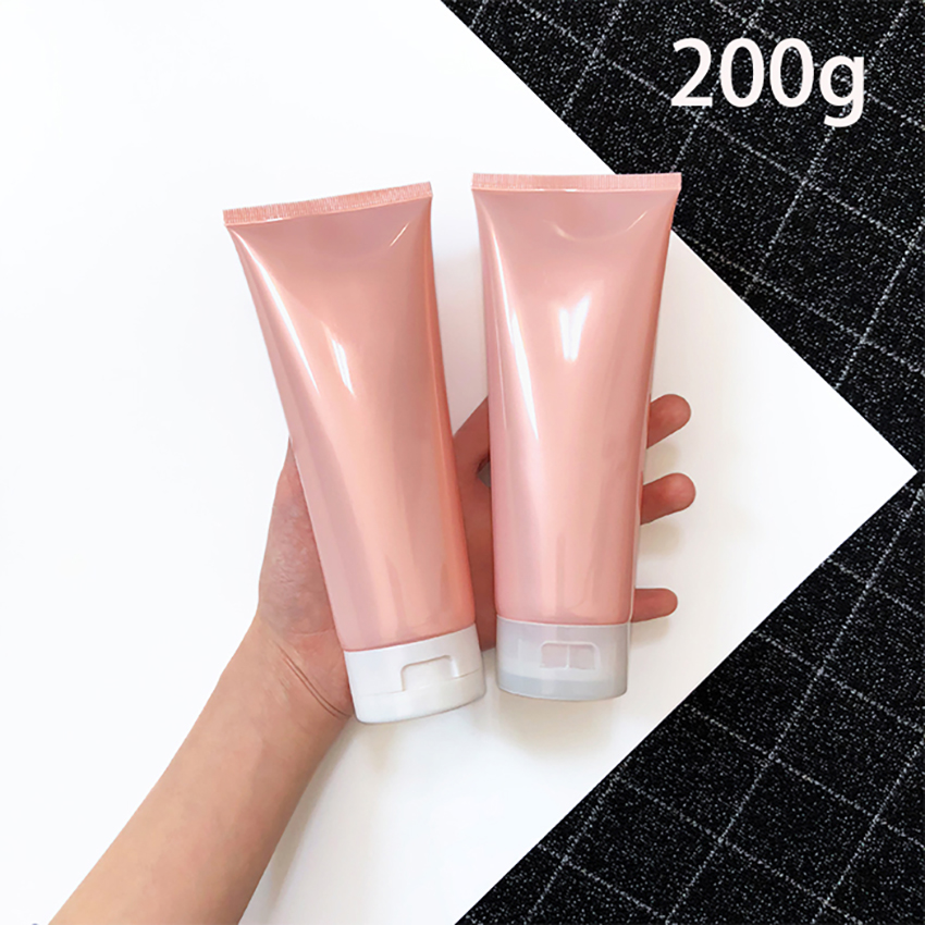 Pink 200g Plastic Cream Soft Bottle Refillable 200ml Cosmetic Make Up Body Lotion Shampoo Squeeze Bottles Empty Free Shipping