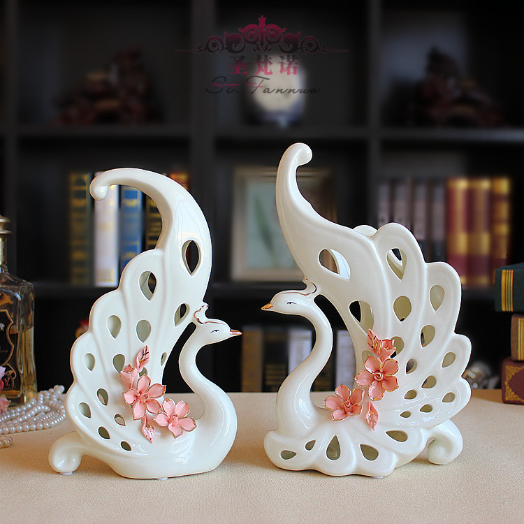 Grade ceramic jade porcelain swan couple ivory porcelain gilt Send flowers crafts home decorations ornaments new homeGrade ceramic jade porcelain swan couple ivory porcelain gilt Send flowers crafts home decorations ornaments new home