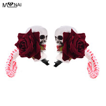 Punk Lolita Skull Headwear Cosplay Prop Devil horn Hair Clip Skeleton Rose Sheep Horns Hairpin Cosplay Halloween Fancy Dress(China)