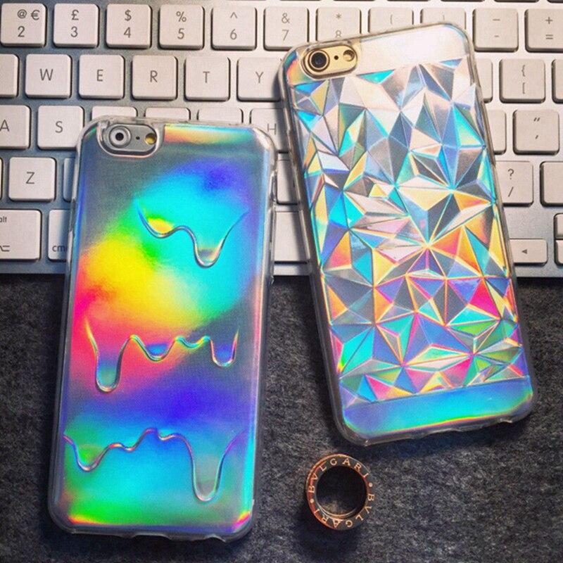 Galleria fotografica MLCRIYG For iPhone 5 5S SE 6 6S 7 Plus Phone Case Luxury Bright Hologram Iridescent Triangle Pastel Melting Soft TPU Back Cover