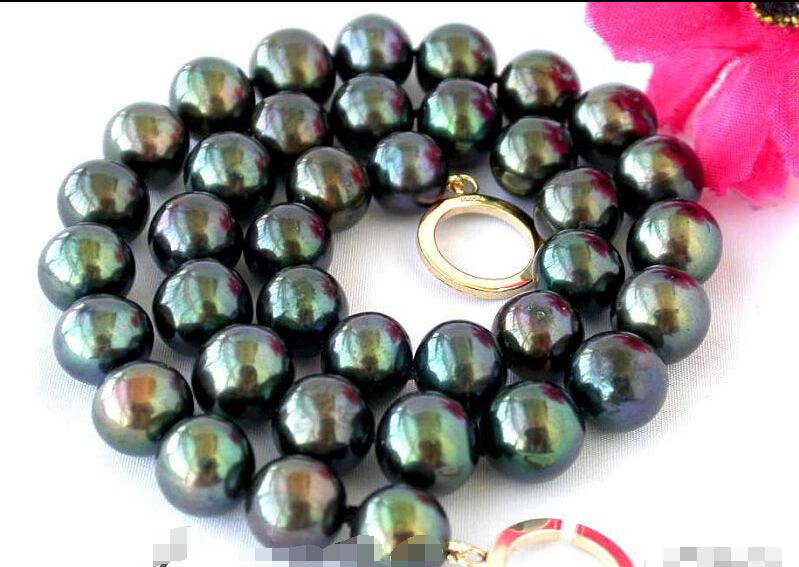 Free shipping >>>>>z2340 17 12mm Tahitian black fw pearl necklace