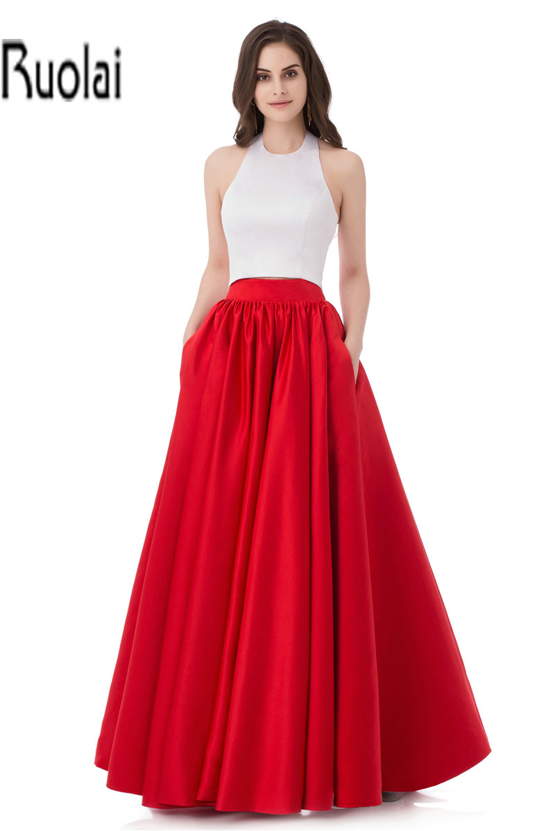 Two Pieces 2016 New Arrival Sexy White Red Satin A Line Floor Length Formal Long   Prom     Dresses   For Evening Party