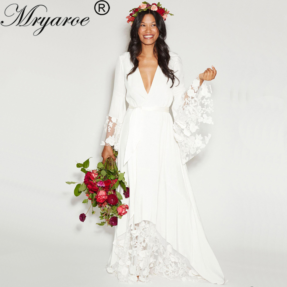 bd63bec011 Mryarce Hippie Style BOHO Chic Wedding Dress Bohemian Long Bell Sleeve Lace  Flower Bridal Gowns Plus Size