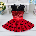 EMS DHL Free Shipping Wholesale Retail Baby Girls Kids sparkle Princess Dress Minnie tutus Sequins Dot Chiffon dress