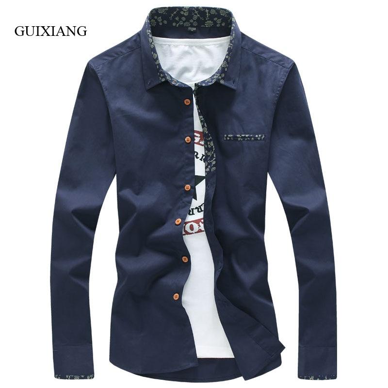 새로운 여름 남성 패션 순수 영국 스타일 플로랄 모자이크 긴팔 캐주얼 셔츠 슬림 남자 긴 셔츠를 바느질 고품질