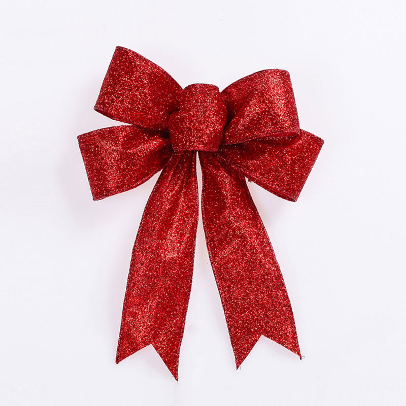 18x5cm bow knot christmas tree decorations ornaments 5 ear for Christmas tree with red and silver ornaments
