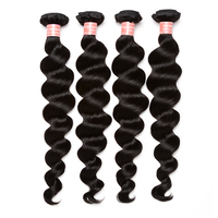 Brazilian Remy Hair Weave Bundles 100% Human Hair Extensions 4 Loose Wave Bundles Deal Natural Color Sunny Queen Products