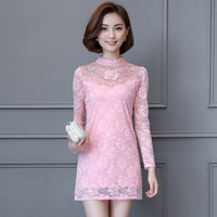 2017 Autumn And Winter New Elegant Beautiful Korean Long Sleeved Lace Collar Collar Slim Was Thin