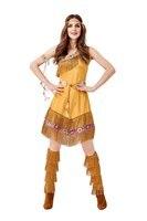 Fantasia Native Princess Adult Costume Women Halloween Native American /Primitive Indian Costume Fancy Dress For Lady Plus Size