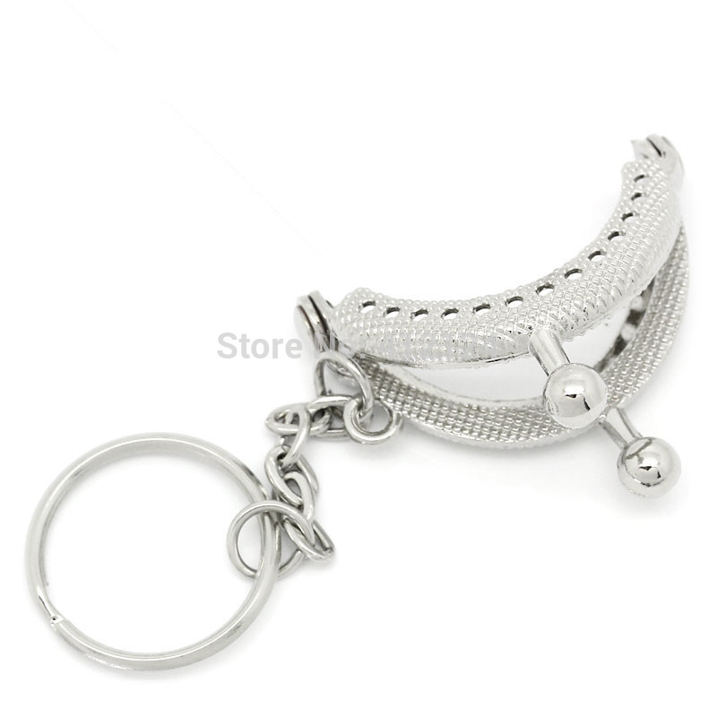 Girl 25PCs 4x3.5cm Bag Purse Metal Frame Kiss Clasp W//Key Ring Arc Silver Tone