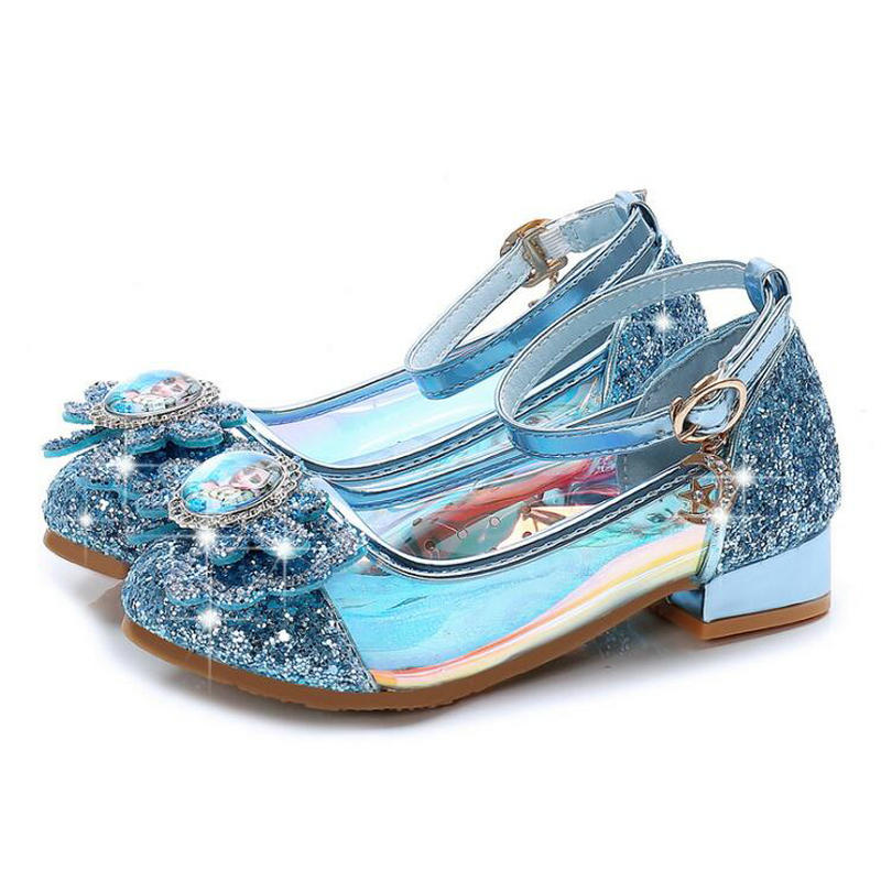 Fashion shoes For Girls Princess High-heelde Leather Shoes Glitter Crystals Knot Kids Party Shoes Elsa sneaker children giftFashion shoes For Girls Princess High-heelde Leather Shoes Glitter Crystals Knot Kids Party Shoes Elsa sneaker children gift