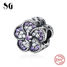 Silver 925 original flower charms beads with crystal CZ fit authentic pandora charm bracelet diy jewelry making for lover gifts