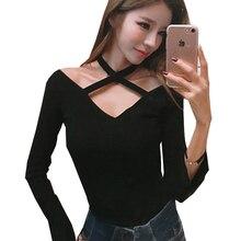 Shintimes Korean Off The Shoulder Tops For Women T-Shirt 2018 Tshirt Long Sleeve Tee Shirt Femme Sexy Poleras Manga Larga Mujer