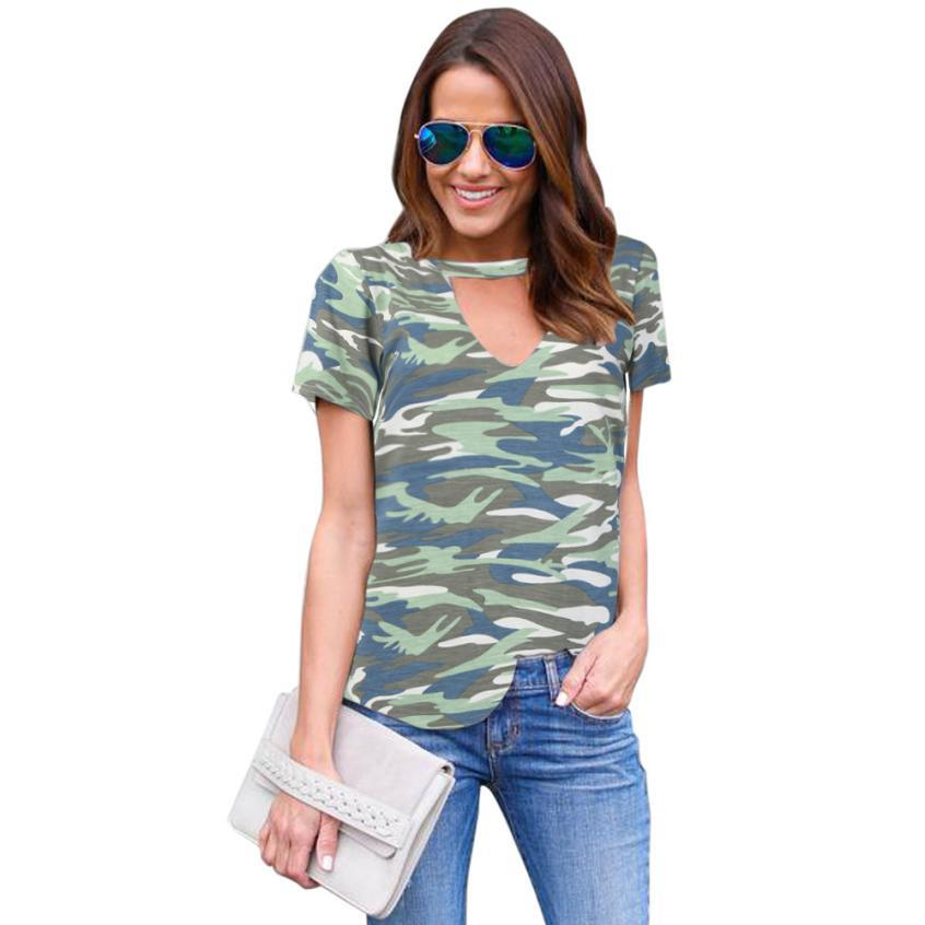 Womens Summer Blouse Shirts Top Printed Camouflage Basic Casual Loose Short Sleeve Track Loose Tee Shirt S-2XL Mujer LJ8793T