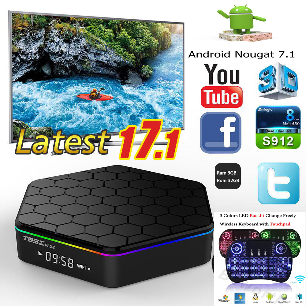 T95Z плюс 3g 32g/2g 16g Android7.1 Amlogic S912 Отт tv box Восьмиядерный cortex-A53 4 k 5g Wi-Fi youtube android tv box