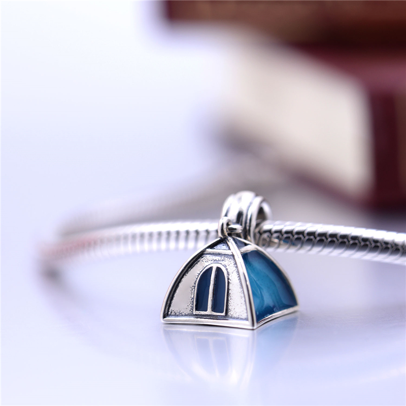 Fits For European Bracelets Blue C&ing Tent Beads Original Sterling Silver Jewelry DIY Beads Wholesale Charms-in Pendants from Jewelry u0026 Accessories on ... & Fits For European Bracelets Blue Camping Tent Beads Original ...