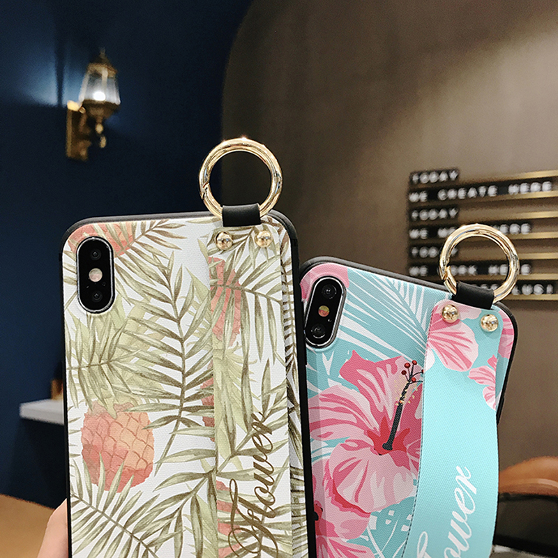 3D Relief Printed Case with Strap for Redmi K20 pro Note 6 7 5 Note 5A 4X Women Girl Flower Case for Xiaomi Mi 8 9 5X 6X Case in Fitted Cases from Cellphones Telecommunications