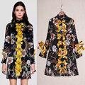 S-XXXL Высокое Качество 2017 Летом Новая Мода Silk Печать Плиссированные Воротник Лук Dress Длинным Рукавом Тонкий Женщины Dress Бесплатная Доставка