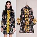 S-XXXL High Quality 2017 Summer New Fashion Silk Print Pleated Collar Bow Dress Long Sleeve Thin Women Dress Free Shipping