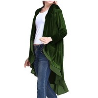 Autumn Women Velvet Jackets Coats Chiffon Ruffles Elegant Long Outerwear 2018 Female Loose Maxi Overcoat