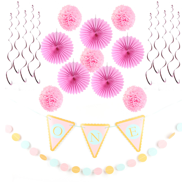 Sunbeauty 12pcs Set 1st Birthday Girl Party Decorations Baby Shower Supplier Pink Princess Theme