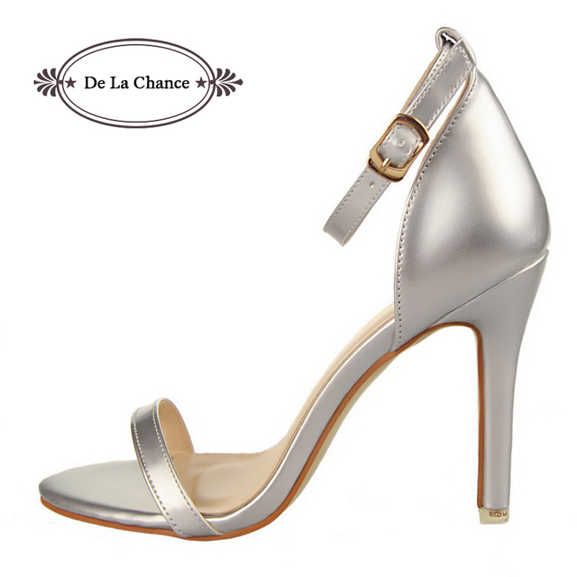 2016 Nude Sexy Women Sandals High Heels Lady Casual Dress Party Shoes For Women Silver Leather Ankle Strap Women Fashion Sandals