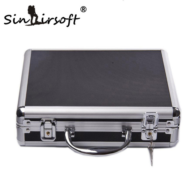 SINAIRSOFT high quality Aluminum alloy Tactical Hard Pistol Case Gun Case Padded Foam Lining for hunting airsoft black