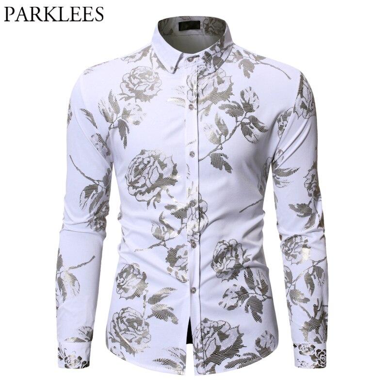 gold rose floral print shirts men 2019 long sleeve slim. Black Bedroom Furniture Sets. Home Design Ideas