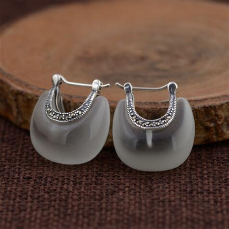 100% Real 925 Sterling Silver Women Earrings Jewelry Retro & Elegant Green White Opal Moon Shape Stud Earrings for Women