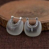 Thực 100% 925 Sterling Silver Nữ Bông Tai Trang Sức Retro & Thanh Lịch Màu Xanh Lá Cây Trắng Opal Trăng Shape Stud Earrings đối với Phụ N