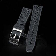 MERJUST Correa de silicona para reloj, banda de silicona gruesa de 22mm y 24mm, correa de reloj negra para navitimer/avenger/Breitling