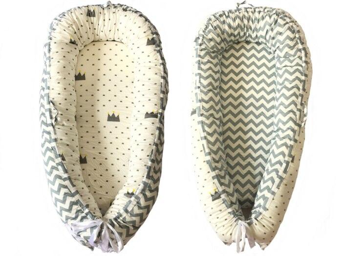 Разборные Детские гнезда кровать или малыша Размер гнезда, мята и совы, портативная кроватка, co спальное место babynest для новорожденных и малышей - Цвет: wave crown