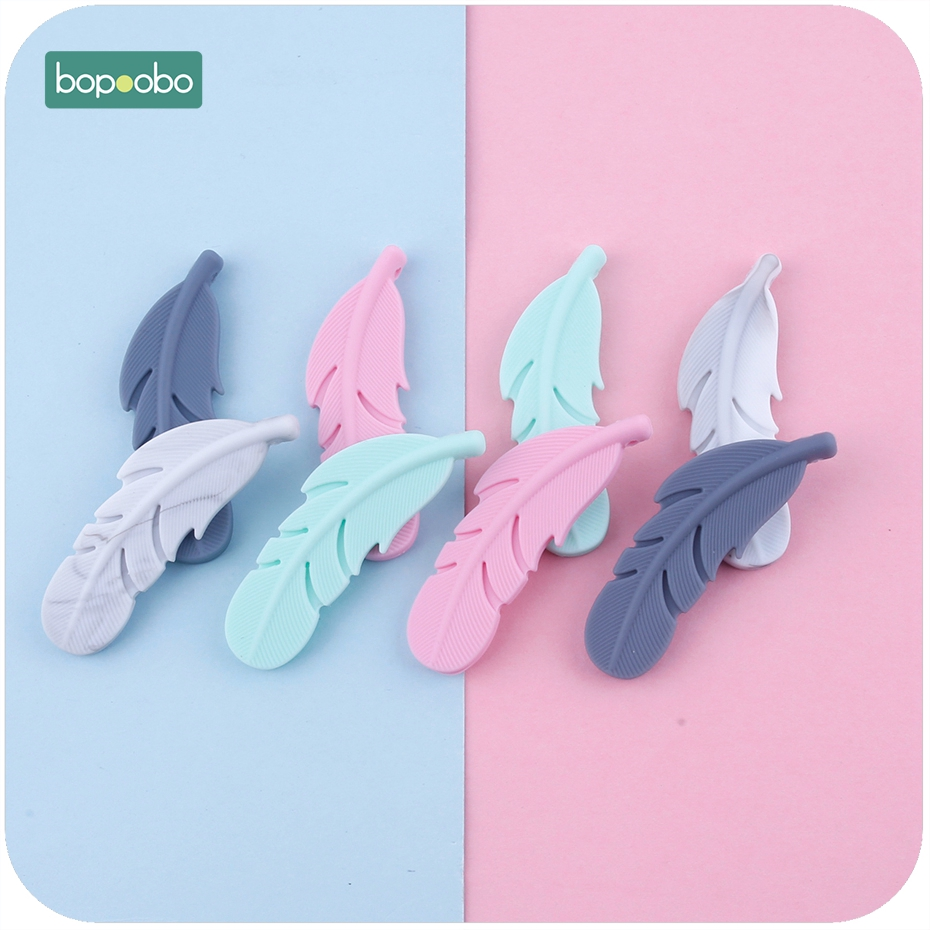 Bopoobo Silicone Feather Teether 2pc Nursing Accessories DIY Necklace Teething Gift BPA Free Silicone Pendants Baby Teether
