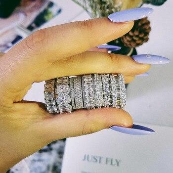 043e6e79e456 Diseño Original de Plata de Ley 925 de la boda banda media eternidad banda anillo  para las mujeres sólido compromiso aniversario joyería de moda R4577S