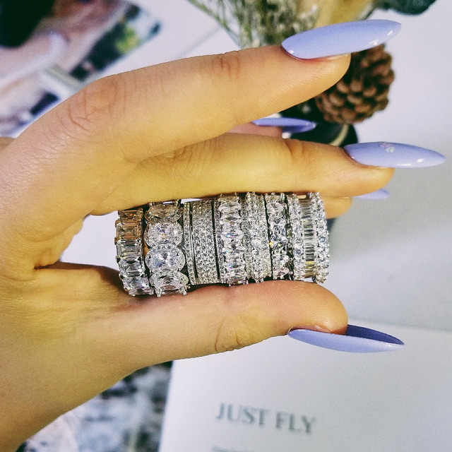 Original design 925 sterling silver wedding band eternity Ring for Women solid engagement anniversary fashion jewelry R4577S