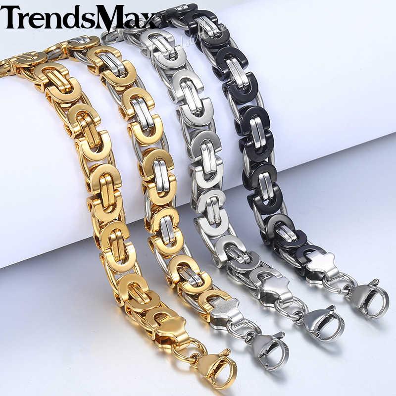 Męska bransoletka złoty srebrny bizantyjski Link Chain bransoletki ze stali nierdzewnej dla biżuteria męska 2018 hurtownie Dropshipping 9mm KBB2A