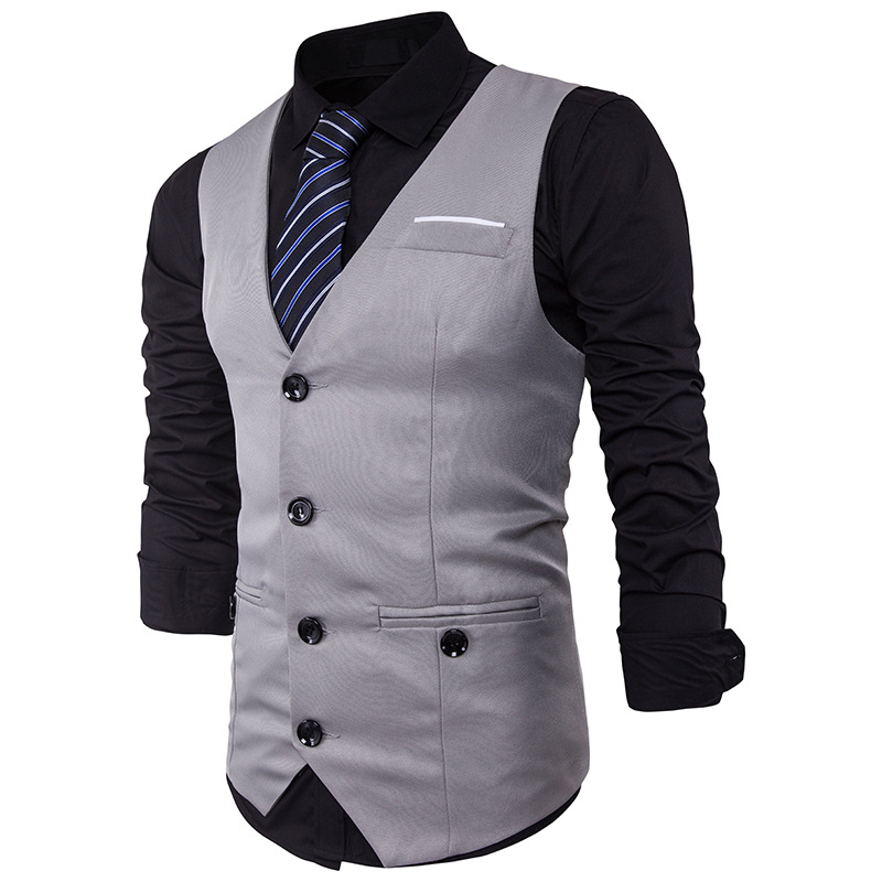 Men Suit Vest Classic V Collar Dress Slim Fit Wedding Waistcoat Mens Formal Slim Dress Sleeveless Vest Men Black Gilet Homme 2XL