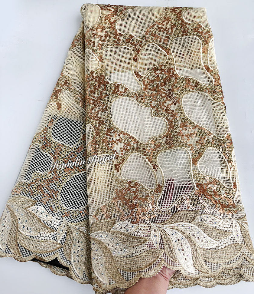 Beige or 5 yards exclusive Africain dentelle irrégulière broderie français dentelle tissu à coudre vêtement tissu avec beaucoup de paillettes