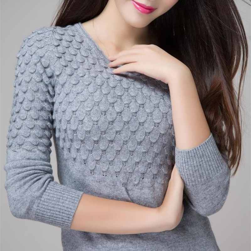 Otoño e Invierno Suéter Nuevo jersey de Cachemir Mujeres Jersey de Cuello Redondo Sólido Hueco de Punto de Punto Delgado de la Camisa Que Basa La Camisa