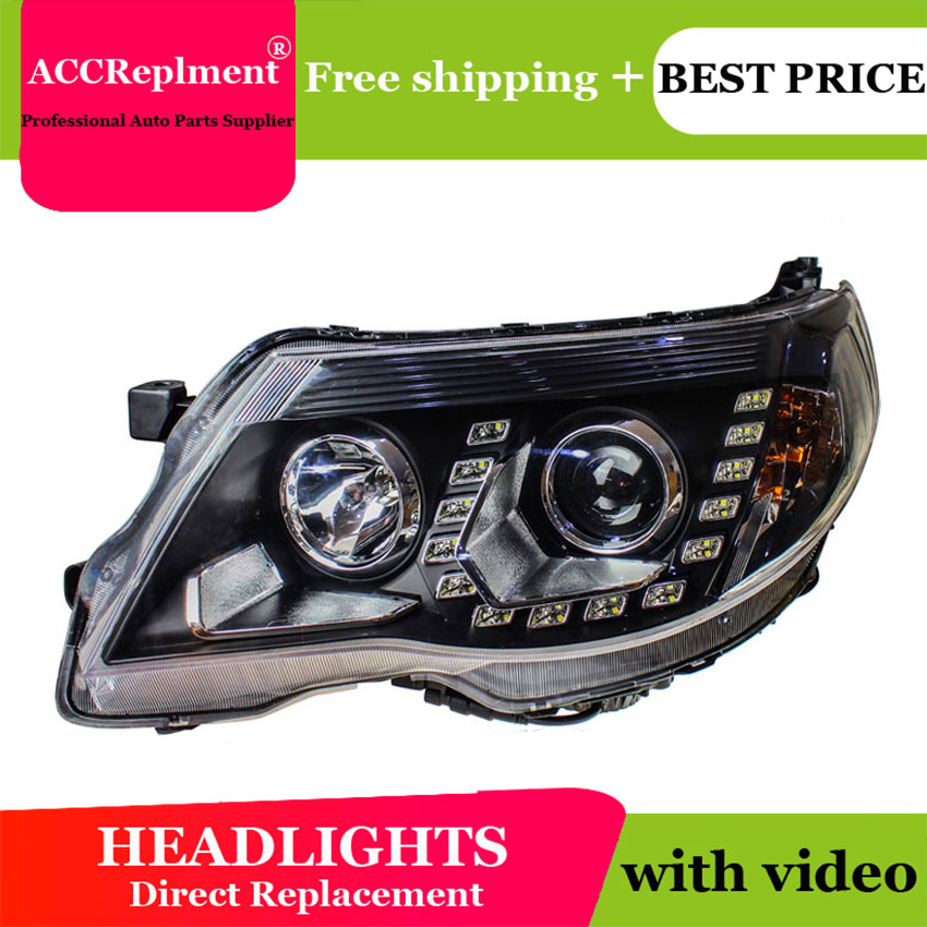 Car Styling For Forester LED Headlight 2008 2012 Bi Xenon Headlights Drl Lens Double Beam H7 HID
