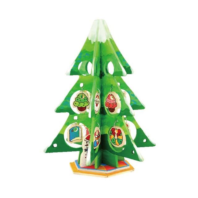 Robotime Home Decor Little Christmas Tree Diy Wooden Painting Mini
