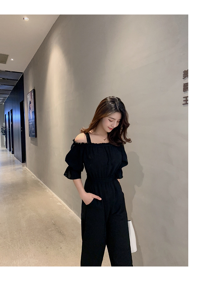 Women's Clothing 2019 Summer New Sexy Bohemian Style Spaghetti Strap Helf Sleeve High Waist Sling Long Beach Wide Leg Jumpsuit 25