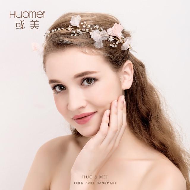 Handmade pink Flower Bridal Hairstyles Gold Leaves Wedding Headband ...
